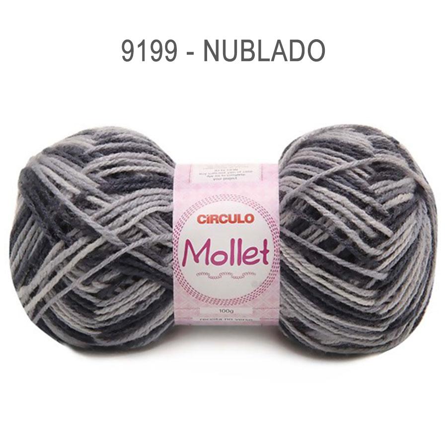 Lã Mollet 100g Multicolor - Circulo - 9199 - Nublado