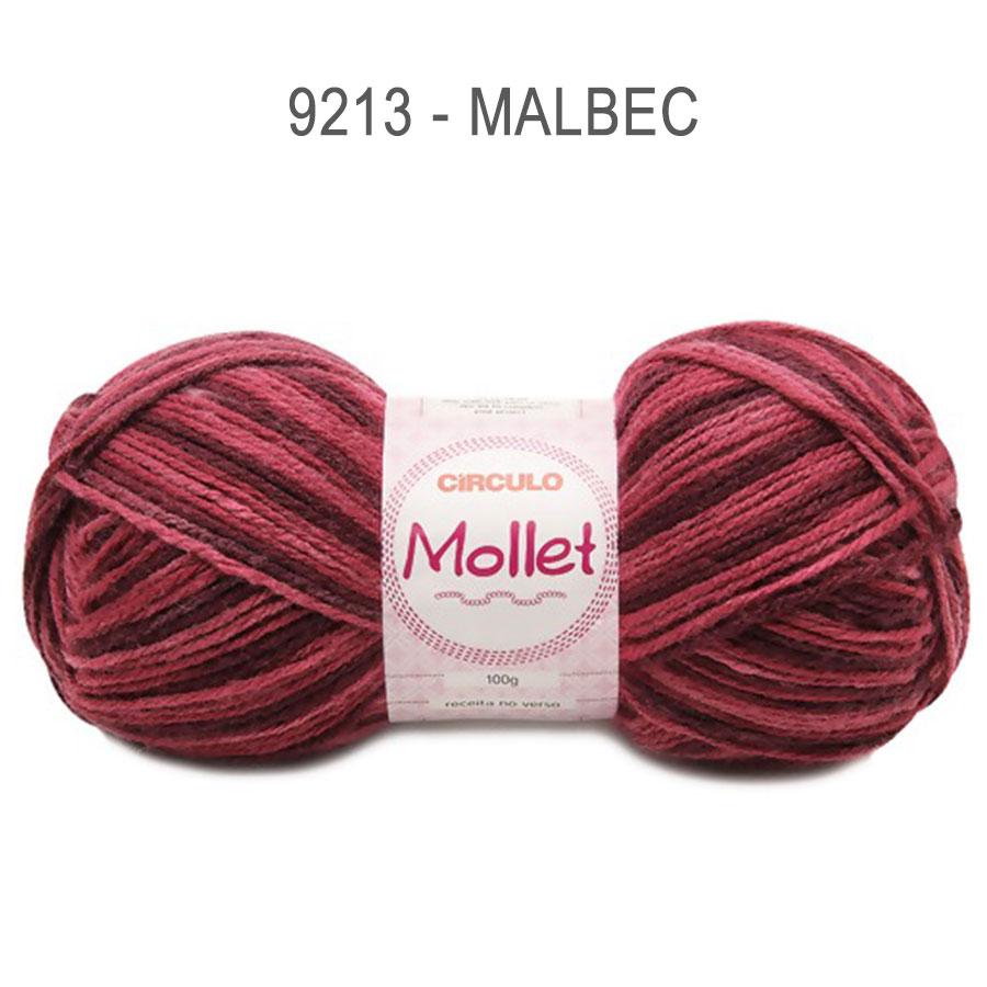 Lã Mollet 100g Multicolor - Circulo - 9213 - Malbec