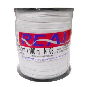 Elástico Chato Nº08 5mm c/ 100m Branco - Real