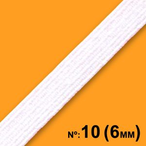 Elástico Chato Nº10 6mm c/ 100m Branco - Real