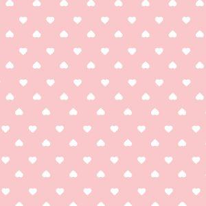 Tecido Tricoline Estampado 100% Algodão - Corações Rosa 1302 V081 Peripan