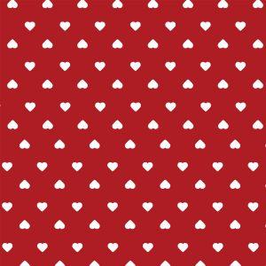 Tecido Tricoline Estampado 100% Algodão - Corações Vermelho 1302 V106 Peripan