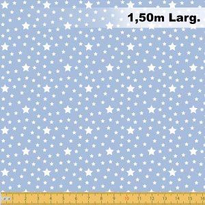 Tecido Tricoline Estampado 100% Algodão - Estrelas Azul 1229 V082 Peripan