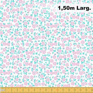 Tecido Tricoline Estampado 100% Algodão Florais Branco 2010 V007 Peripan