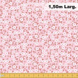Tecido Tricoline Estampado 100% Algodão Florais Rosa 2010 V002 Peripan