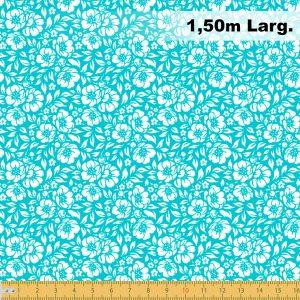 Tecido Tricoline Estampado 100% Algodão - Floral Verde Água 1177 V092 Peripan
