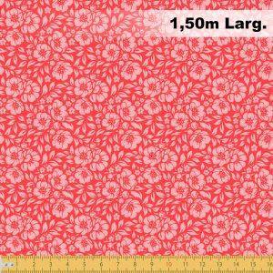 Tecido Tricoline Estampado 100% Algodão - Floral Vermelho 1177 V010 Peripan