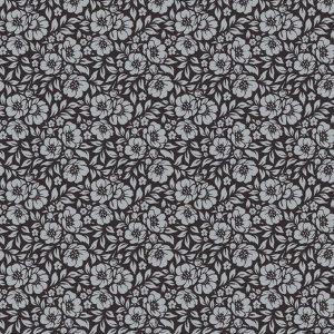 Tecido Tricoline Estampado 100% Algodão - Floral Preto 1177 V099 Peripan