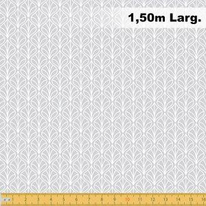 Tricoline Estampado 100% Algodão - Folhas Cinza Claro 1232 V091 Peripan