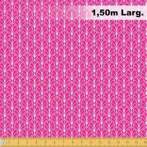 Tecido Tricoline Estampado 100% Algodão - Folhas Rosa Pink 1232 V108 Peripan