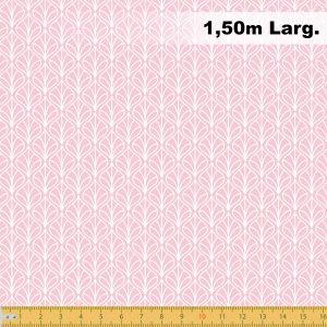 Tecido Tricoline Estampado 100% Algodão - Folhas Rosa 1232 V081 Peripan