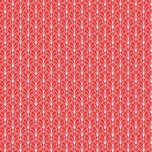 Tecido Tricoline Estampado 100% Algodão - Folhas Vermelho 1232 V106 Peripan