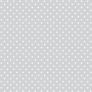 Tecido Tricoline Estampado 100% Algodão Poá Cinza Claro e Branco 1002 V091 Peripan