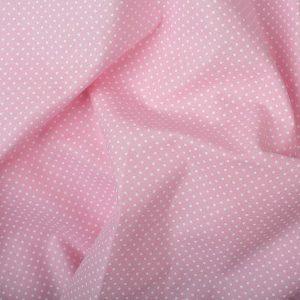 Tecido Tricoline Estampado 100% Algodão Poá Rosa e Branco 1002 V081 peripan