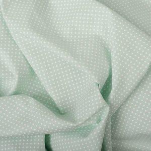 Tecido Tricoline Estampado 100% Algodão Poá Verde e Branco 1002 V083 Peripan